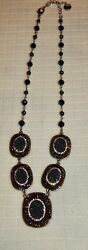Talbots Misses Black and Silver Crystal and Bead Necklace 10quot; $10.99