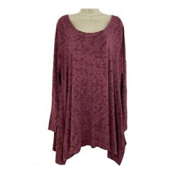 Soft Surroundings 2X Tunic Top Floral Long Sleeve Scoop Neck Plus Women Pink Red $21.59