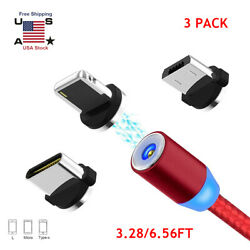 3X 360° Rotate Magnetic LED Fast Charging Cable Micro USB C Android Charger Cord $5.49
