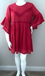 Umgee Boho Lace Accent Bell Sleeve Tunic Dress Strawberry Red Plus XL 1XL New $42.25