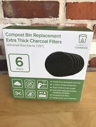 NEW Simply Carbon 6Pk Replacement Extra Thick Filters for Kitchen Compost Bins $12.88