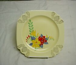 "Vintage Homer Laughlin Century Riviera Ivory Floral Gold Trim 9"" Dinner Plate $14.99"