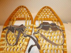 VINTAGE SNOWSHOES 33quot; Long x 10quot; Wide with Leather Bindings READY TO USE $75.00