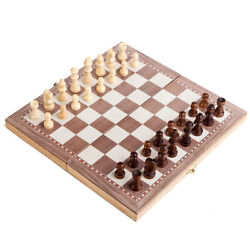 Hand Crafted Wooden Portable Folding 15quot; Board Chessboard Game Chess Set 30 x 30 $13.88