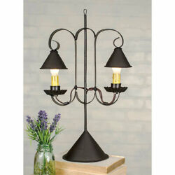 Primitive Colonial Double Lamp w Hanging Shade Accent Desk Lamp Free Ship $79.95