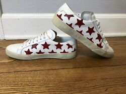 Saint Laurent Court Classics Red Star White Leather Sneakers 37 $175.00