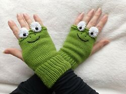 Green Frogs Knitted Fingerless Gloves Kids and Women Sizes Free Shipping $15.79