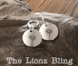 Farmhouse Rustic style Dandelion on Antiqued Silver Dangle Earrings 1 3 8quot; $11.35