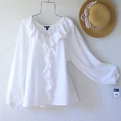 New White Peasant Blouse Prairie Ruffle Cotton Lace Boho Top Size Medium M $39.95