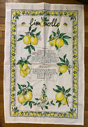 Limoncello Recipie LINEN Tea Towel Italian Decor Lemon Kitchen Decor UNUSED $19.99