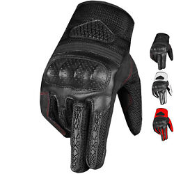 Men#x27;s Motorcycle AirMesh amp; Goatskin Leather Touchscreen Gloves for Biker $16.99