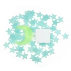 Home Stickers Stars and Moon Wall doors Gift In The Dark Kids Light Green window $8.26