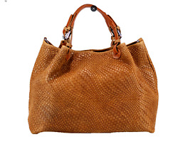 NWT: ITALIAN GENUINE LEATHER WEAVE STYLE SATCHEL BAG HANDBAG MADE IN ITALY $108.50
