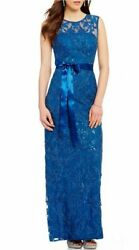 NEW Adrianna Papell Gown 12 blue New Years SEQUIN ILLUSION BEAD LACE dress NWT $33.00