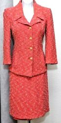 ST.JOHN Collection Womens Suit Coral Boucle Tweed Jacket amp; Skirt Sz 12 $279.99