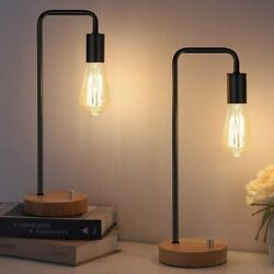 Set of 2 Industrial Desk Lamp with Wooden Base Retro Office Lamp for Bedroom $31.99