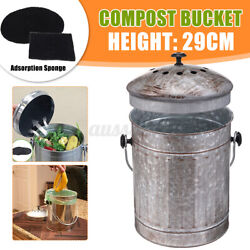 6L Steel Kitchen Compost Bin Bucket Garden Box With Vented Charcoal Filter US $29.29