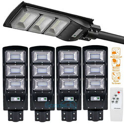 990000LM Commercial LED Solar Street Light 2 4 Pack Dusk to Dawn Road Lamp