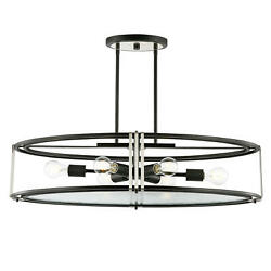 Light Society Roque 6 Light Black Chandelier with Clear Glass Shade $78.92