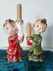 Vintage Star Boy Girl Christmas Caroler Figurines Candleholders 9quot; tall Candles $34.99
