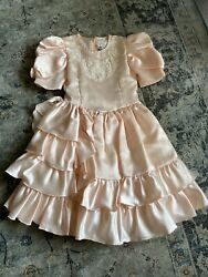 Vintage Girls Full Circle Party Dress Size 6x Peach Lace Fancy Ruffles $49.99