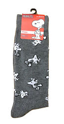New PEANUTS Mens Novelty Crew Socks GRAY WITH WOODSTOCK ALL OVER $5.99
