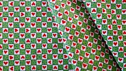 Red Green Checkerboard Valentine Novelty Cotton Tiny Heart Doll Quilt Fabric $4.99