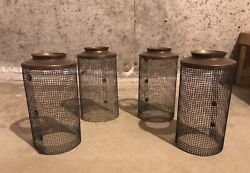 Set Of Four Antique Light Fixture Mesh Screen Shades Very Cool $89.00
