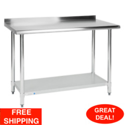Commercial 24quot; x 36quot; Stainless Steel Work Prep Table With Backsplash Kitchen NSF