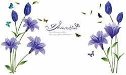 Removable Large Lily Flower Wall Vinyl Decals for TV Wall Easy to Apply Peel $32.00