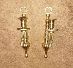 Pair Century Vintage Mid Century Ornate Brass Candelabra Candle Wall Sconces $9.99