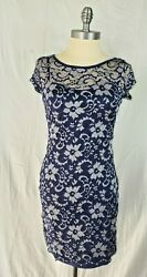 Almost Famous Size M Navy Silver Lace Dress Stretch Cocktail Wear Dress A11 $9.99