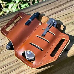 Leather Sheath Belt Pouch Knife Flashlight Holster Tactical pens Tools Handmade $9.99