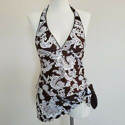 Chaps Tankini Swimsuit Brown White Paisley Halter Skirted Size 8 Bathing Suit $24.44
