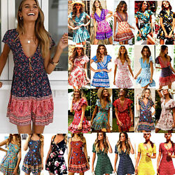 Womens Summer Holiday Boho Floral Sundress Skater Beach Casual Loose Mini Dress $12.34