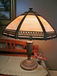 ANTIQUE SLAG GLASS 8 PANEL TABLE LAMP SIGNED RAINAUD 18 $619.00