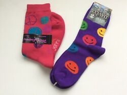 2 PAIRS WOMENS NOVELTY CREW SOCKS * SMILEY FACES PEACE SIGNS * NWT * PINK PURPLE $11.39