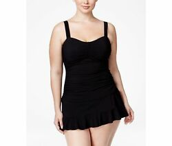 Profile Gottex Blk Ruched Tankini Ruffle Skirted Plus Size 18W Swimsuit NWT $220 $88.00