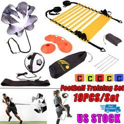 19PC Set Speed Agility Training Kit Football Trainer Ladders Hurdles Poles Cones $26.58