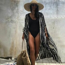 Women Swimsuits Cotton Bikini Cover ups Retro Striped Self Belted Wear Cover Up $31.95