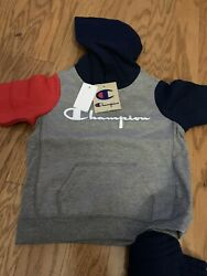 Champion Size 3T 2pc Set Reverse Hoodie amp; Jogger Gray Navy Red $29.88