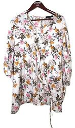 Blouse Womens Boho 2X White Floral 3 4 Sleeve Suzanne Betro $36.00