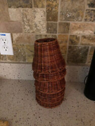 Set of 6 Wicker Tropical Lamp Shade Clip On 5quot;x4quot; perfect tropical look $49.00