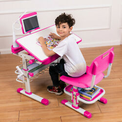 Kids Study Desk and Chair Set Height Adjustable with Table LED Lamp Bookstand $119.99