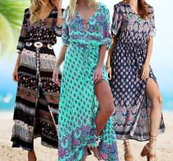 Women#x27;s Casual Sundress Boho Beach Slit Long Maxi Floral Summer Beach Dress $18.99