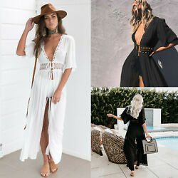 Women#x27;s Bathing Suit Cover Up Lace Boho Beach Maxi Summer Bikini Sundress Dress $18.99