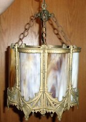 Antique SLAG Stained Glass Ceiling Light Shade CURVED GLASS brass chandelier $229.00