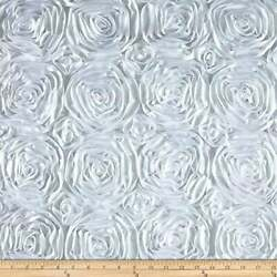 WHITE Rosette Satin Fabric – Sold By The Yard Floral Flowers Satin Decor $13.99