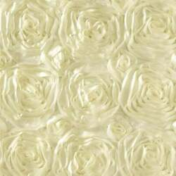 IVORY Rosette Satin Fabric – Sold By The Yard Floral Flowers Satin Decor $13.99