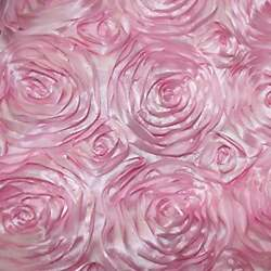 PINK Rosette Satin Fabric – Sold By The Yard Floral Flowers Satin Decor $13.99